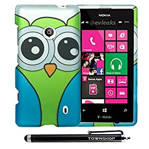 Townshop[TM] Watery Owl Design Rubberized Snap on Hard Cover Case For Nokia Lumia 521 (T-Mobile) with Townshop[TM] Stylus Pen