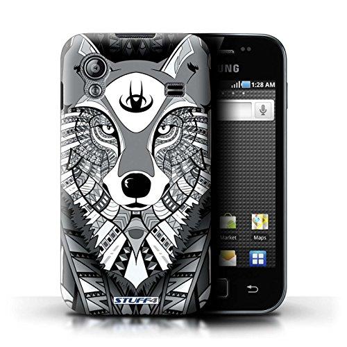Stuff4 Hülle / Hülle für Samsung Galaxy Ace / Wolf-Mono Muster / Aztec Tier Muster Kollektion