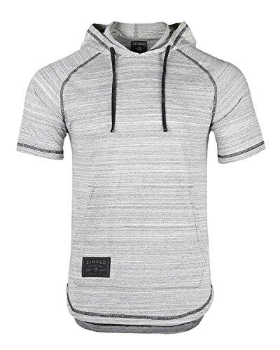 ZIMEGO Men's Short Sleeve Pullover Hoodie Lightweight Soft Jersey Hooded ()