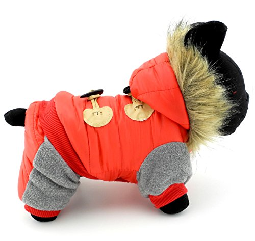 PETLOVE Small Dog Winter Jumpsuit Outfits Pet Coat Fleece Lined Toggle Hooded Jacket Pet Clothing Red L