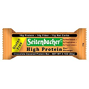 Seitenbacher Chocolate Covered Protein Bar, Orange, 2.1 Ounce (Pack of 12)