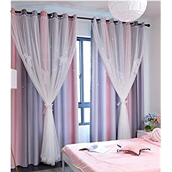 Yancorp Room Darkening Blackout Curtains with Grommets Kids Lace Drapes Star Double Layer Window Panels with Tie Backs Bedroom Living Room (Pink Grey, W52 X 84