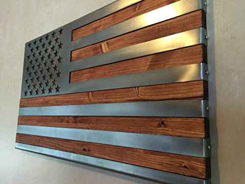 Metal Art | Metal Art of Wisconsin | US Flag Metal Decor, Patriotic Wall Art, Hand Oiled Pine Polished 4 Foot