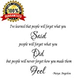 Maya Angelou I've Learned That People Inspirational Quote Saying Wall Sticker Decal Transfer Vinyl Wall Decal Vinyl Stickers Love Romance Family (Medium)