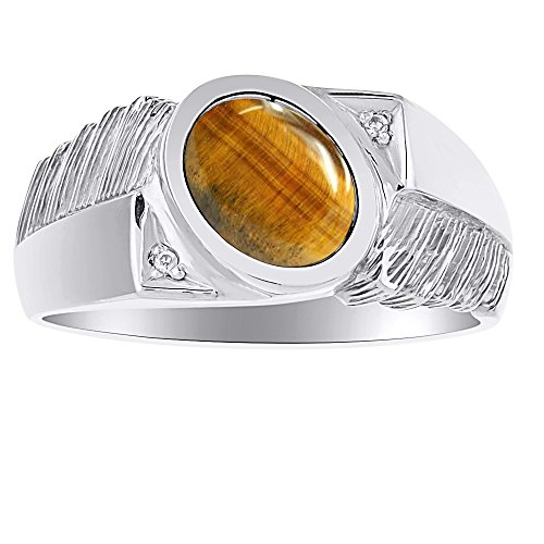 Mens Classic Oval Tiger Eye &