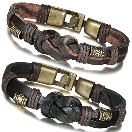 FIBO STEEL Vintage Braided Leather Bracelet