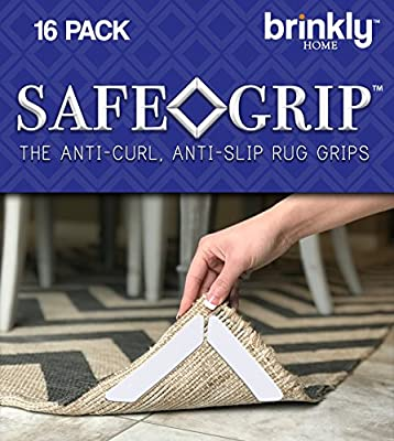 Brinkly Safe Grip Premium Rug Gripper 16PCS | The Anti-Curling Carpet Gripper Keeps Your Area Rugs in Place and Corners Flat | Best Anti-Slip Rug Pads w/ Renewable Gripper Tape for All Hard Floors