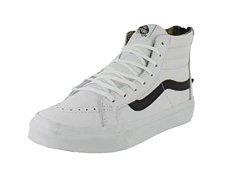 5715e67b800e Vans Sk8-Hi Slim Zip Plaid Flannel True White   Black High-Top Leather Skateboarding  Shoe - 8.5M 7M  Vans  Amazon.ca  Watches