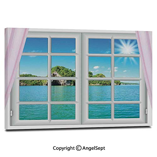 (Modern Salon Theme Mural Ocean View from The Window on Island in Sunny Summer Day Peace Relax Rest and Forget Theme Painting Canvas Wall Art for Home Decor 24x36inches, Pink Blue)