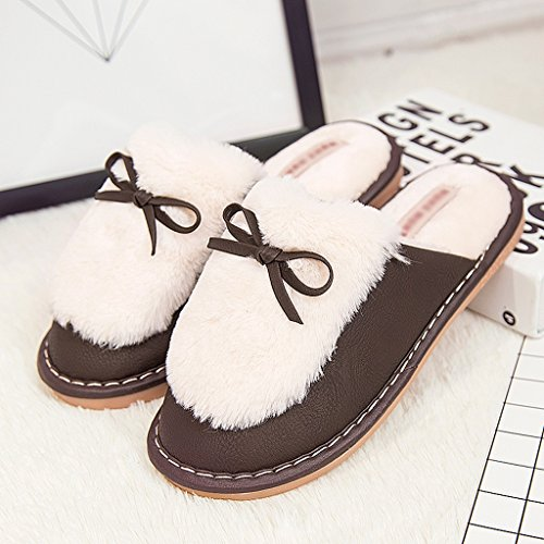 [Women's cotton slippers winter home non-slip thick bottom hairy warm slippers ( Color : Brown , Size : EUR:36-37 )] (Brown Hairy Feet)