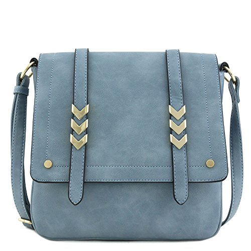 Double Compartment Large Flapover Crossbody Bag (Blue Grey) (Cross Chest Purse)