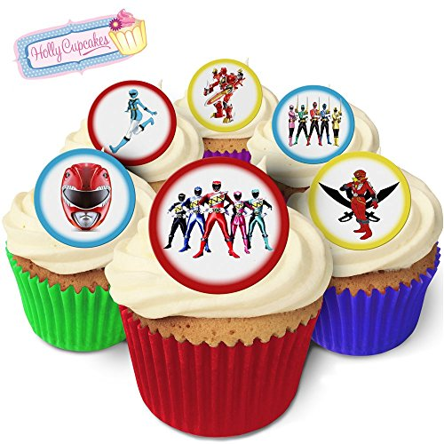 24 Fabulous Edible Pre-Cut Wafer Cake Toppers: Power Rangers -
