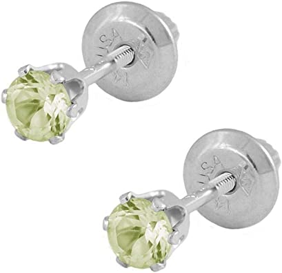 Gemstone Jewellery Girls Fashion Heart Minnie Mouse Earrings In 14k White Gold Plated Round Peridot