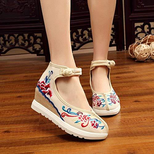 Cómodos Tamaño Suela color Lino Estilo Femeninos Informales 38 De Zapatos Metros Tendón Bordados Moda Étnico Aumentados Blancos Eeayyygch qTWtPfxw