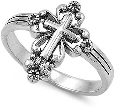 CHOOSE YOUR COLOR Sterling Silver Victorian Style Cross Ring
