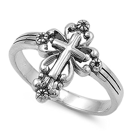 - Sterling Silver Classic Vintage Cross Ring Christian Religious 925 Size 10