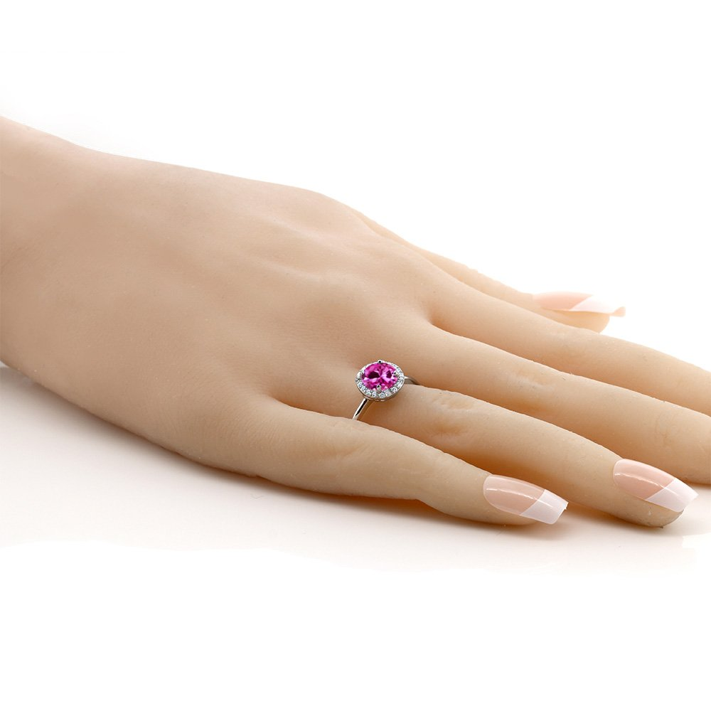 Gem Stone King 925 Sterling Silver 1.86 Ct Round Pink Created Sapphire Halo Engagement Ring