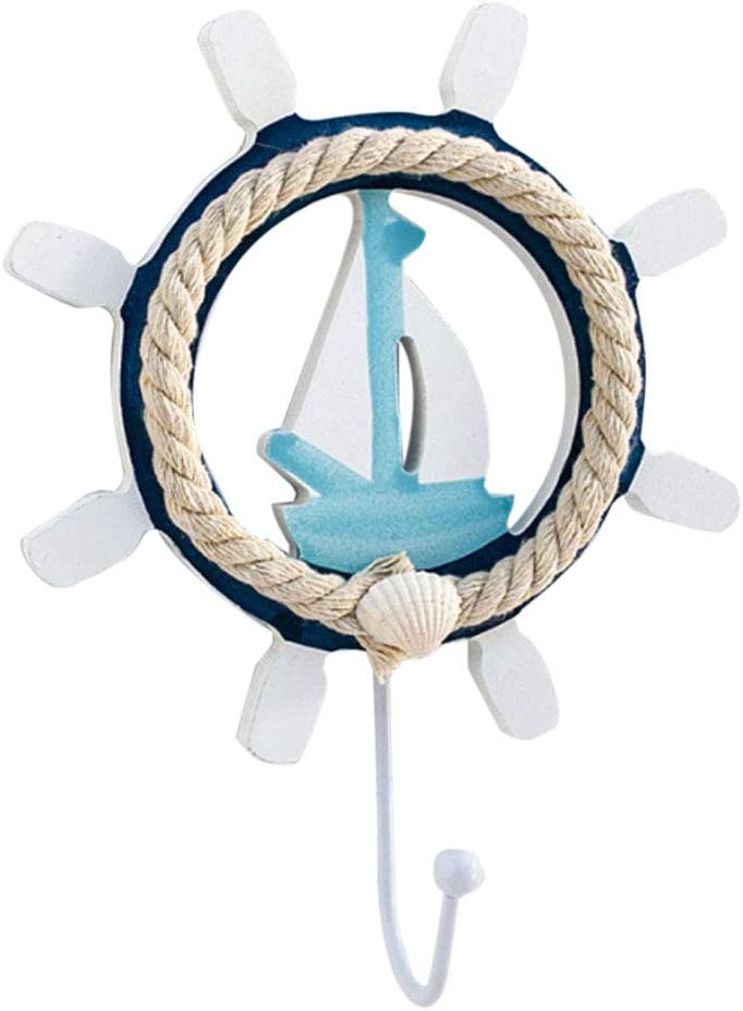 TOPBATHY Ganchos de Ropa de Pared N/áuticos en Forma de Volantes Gancho Decoraci/ón de Pared n/áutica Helmsman Velero Gancho