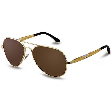 Sonnenbrille Unisex Blau Polarisierte Sonnenbrille Anti-UV Edelstahl Rahmen T8LODd