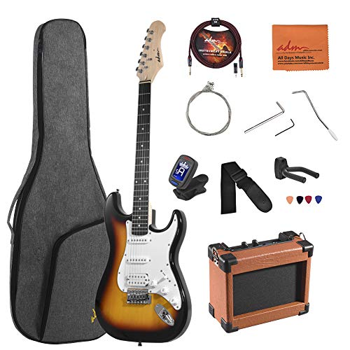 ADM Electric Guitar Beginner Kit 39 Inch Full Size Sunburst, Starter Package with Amplifier, Bag, Capo, Strap, String, Tuner, Cable and Picks (Sunburst)