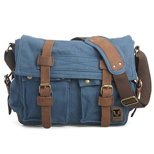 d791ffd1cc694 Estarer Vintage Umhängetasche Schultasche für Damen Herren Blau Blau Ggq5bqf