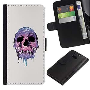 LECELL--Cuero de la tarjeta la carpeta del tirón Smartphone Slots Protección Holder For HTC One M8 -- Derretida psicodélico cráneo --