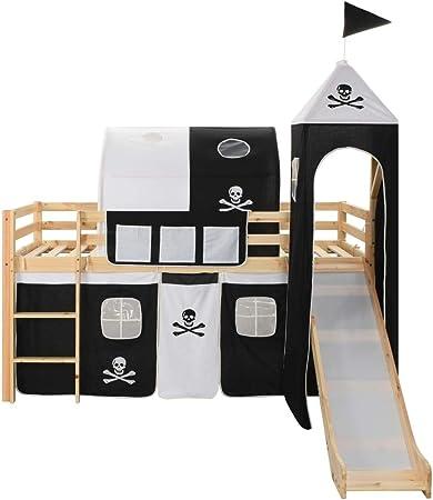 Mobiliario para bebés y niños pequeños Cunas y Camas para niñosCama Alta para niños tobogán y Escalera Madera Pino 97x208 cm: Amazon.es: Hogar