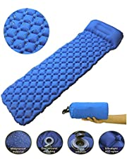Inflatable Sleeping Mat with Pillow Ultralight Camping Pad Waterproof Air Mattress Folding Inflating Single Bed waterproof Air Pad for indoor and outdoor for Hiking travel,Sport,Backpacking(Blue)