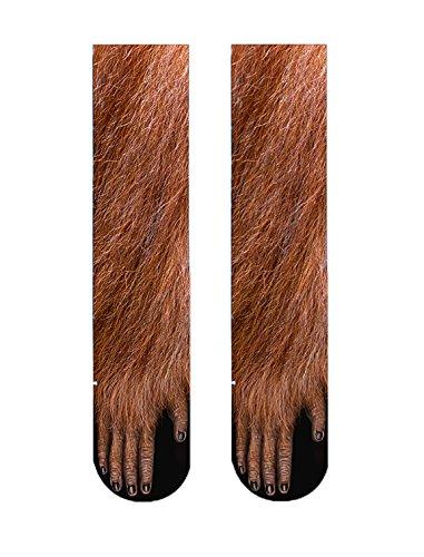 ERJO Animal Feet Novelty Socks, Men&Women Crazy Funny Animal Paw Crew Socks Sublimated 3D Print Socks Brown Gorrila SC2 for $<!--$10.09-->