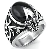 Daesar Stainless Steel Rings Mens Rings Dragon Claw Gothic Punk Rings Silver Black Size:7