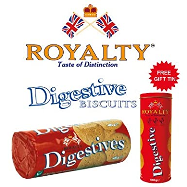 27e9122ec7cd Royalty Digestive Biscuits 400g with Special Gift Tin  Amazon.co.uk  Grocery