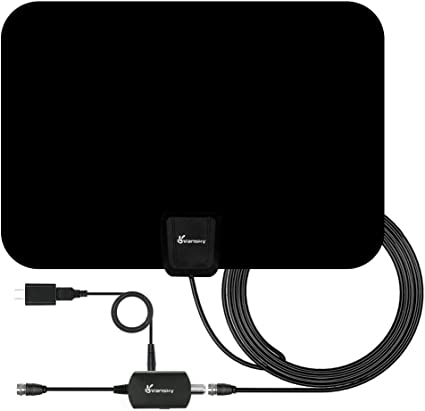 Digital HDTV Antenna Amplified 50 Miles Range Supports 1080P HD VHF UHF Freeview for Life Local Channels Broadcast Indoor Outdoor TV Antenna Amplifier Signal Booster 10 feet Coax Cable