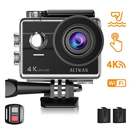 Action Camera 4K ACTMAN Touch Screen 16MP Sony Sensor Underwater Waterproof Camera WiFi Sports Cam with Remote control 2 Batteries and Mounting Accessories Kit Compatible With GoPro