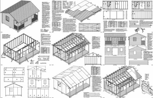 16' X 20' Cottage Shed with Porch, Project Plans -Design #61620