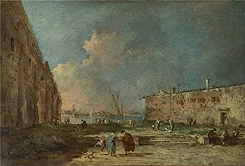 Oil Painting 'Francesco Guardi A View Near Venice ' Printing On Polyster Canvas , 24 X 35 Inch / 61 X 90 Cm ,the Best Kitchen Decor And Home Gallery Art And Gifts Is This Cheap But High Quality Art Decorative Art Decorative Canvas - Swirl Remover Gallon