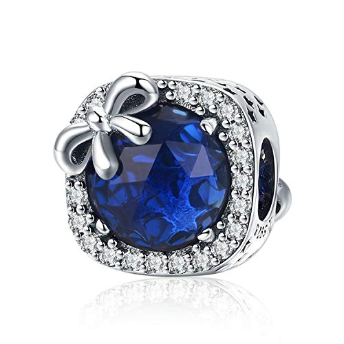 MUERDOU Birthstone Charm for Pandora Charms Bracelet 925 Sterling Silver Bowknot Birthday Crystal Charms for Bracelet and Necklace (September)
