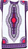 RaanPahMuang Brand Child Dashiki White Afrikan Full Kaftan Throw Over Outfit, 10-12 Years, White Violet