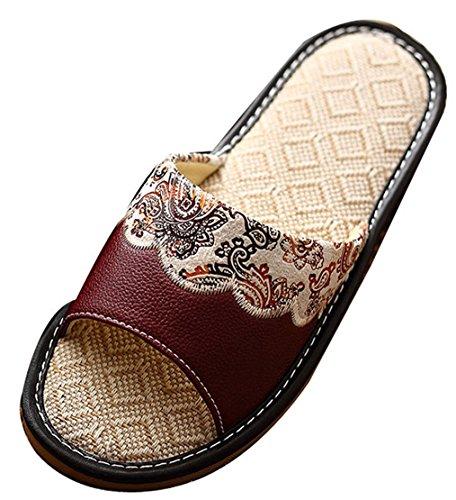 Blubi Womens Summer Leather Upper Linen Skid-proof House Slippers Footwear Brown EoQEvaF