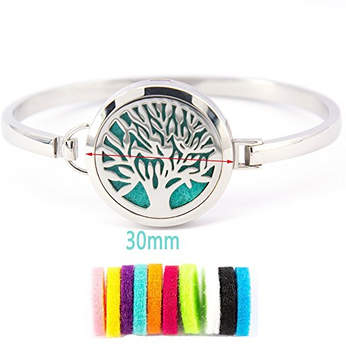 Mesinya tree of life Aromatherapy / 316L s.steel Essential Oils Diffuser Locket bangle 7.6''-8''wrist