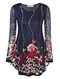 BaiShengGT Women's Long Sleeves Flare Tunic Top, O Neck Floral Printed Pleated Spring Lace Tops for Leggings Flowy Shirt L Blue Floral