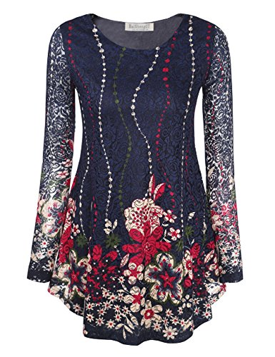 BaiShengGT Women's Long Sleeves Flare Tunic Top, O Neck Floral Printed Pleated Spring Lace Tops for Leggings Flowy Shirt L Blue Floral by BaiShengGT