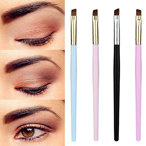 Makeup Brush Eyebrow Flat Angled Brushes Synthetic Hair portable Foundation black pink Eyebrow Eyeliner Blush ()