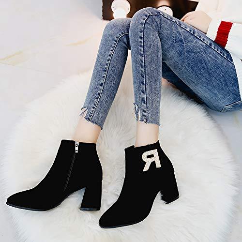 KPHY Damenschuhe Harte Sohle Kurze Stiefel Heel 7 cm cm cm 100 Sätze Slim Reißverschluss Sagte Martin Stiefel d3f219