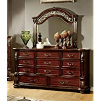 Furniture of America Caldara Traditional Dresser and Mirror, Brown Cherry