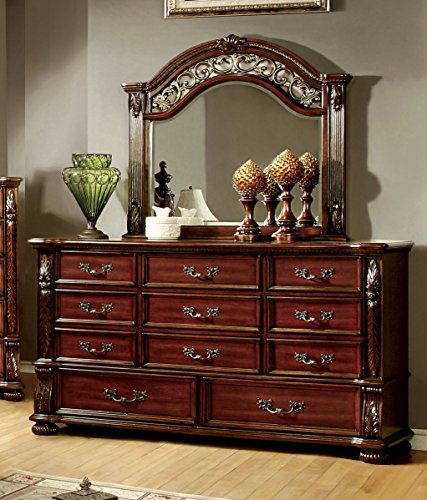 Cherry 10 Drawer Dresser (Furniture of America Caldara Traditional Dresser and Mirror, Brown Cherry)