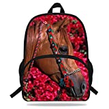 VEEWOW 16-Inch Beautiful Horse Print Bag For Children School Animal Backpack For Teenagers (D1081)