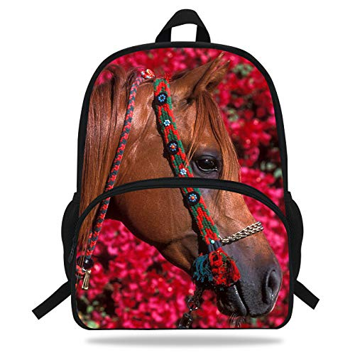 Horse Backpack - VEEWOW 16-Inch Beautiful Horse Print Bag For Children School Animal Backpack For Teenagers (D1081)