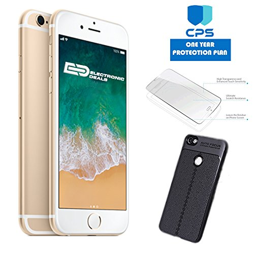 "Apple iPhone 6 GSM Unlocked (Certified Refurbished) w/ ""ED Bundle"" – $99 Value (Bundle Includes: ED Premium Case + Screen Protector + 1 Year Extended CPS Limited Warranty) (Gold, 64GB)"