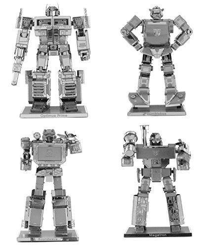Fascinations Metal Earth Transformers 3D Metal Model Kits Set of 4 - Optimus Prime, Bumblebee, Soundwave and Megatron - Optimus Prime Bumble Bee