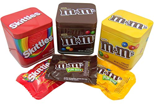Mars Assorted M&M's and Skittles 3 Pack Tin Gift Set, 6.48 oz -